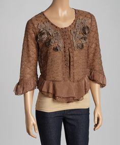 Look at this #zulilyfind! Ecru Embellished Crochet Linen-Blend Open Cardigan by Pretty Angel #zulilyfinds