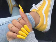 Glitter coffin nails; short, medium and long coffin acrylic nails; natural coffin nails; matte coffin acrylic nails. #AcrylicNailsNatural Acrylic Nail Art, Acrylic Nail Designs, Tumblr Acrylic Nails, Colourful Acrylic Nails, Yellow Nail Art, Coffin Acrylics, Coffin Acrylic Nails Long, Aesthetic Colors, Aesthetic Yellow
