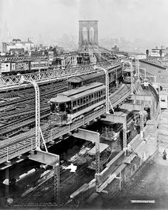 Approach to Brooklyn Bridge, New York, 1909. Detroit Publishing - New York City. History in Photos: New York City