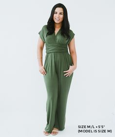 Convertible, versatile, multi-functional pantsuit in olive green. Wear the straps many ways! http://www.seamly.co/collections/all/products/convertible-pantsuit-olive