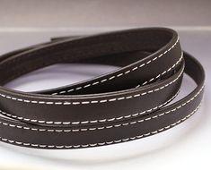 Dark brown leather strap 10x2mm Brown flat leather cord Leather string Stitched leather strip 10mm 10 mm Leather string  BRFL10X2