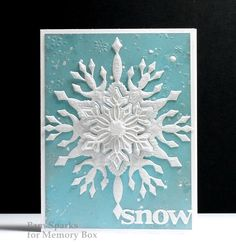 Here's a frosty, freezin' season card for you! This is one of three cards I taught at the Scrapbooking Studio last Saturday morning. A lot of steps to it but fun results! I have a video HE. Christmas Card Crafts, Holiday Cards, Christmas Cards, Handmade Christmas, Christmas Holiday, Christmas Ideas, Snowflake Stencil, Snowflake Craft, Memory Box Cards