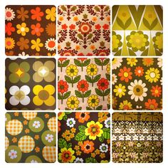 Browns, orange and yellow vintage fabric 60s/70s
