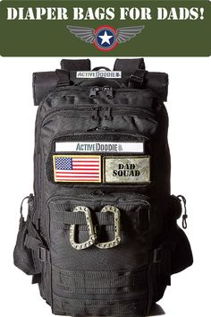 Active Doodie® Dad Diaper Bag Backpack, Tactical Adventure Bag for Dads - Dad Squad Daddy Diaper Bags, Velcro Patches, Baby Necessities, Diaper Bag Backpack, Tactical Gear, Baby Love, Cool Things To Buy, Changing Pad, Baby Gear