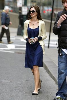 "I love Anne Hathaway's outfits in ""Bride Wars"" and ""The Devil Wears Prada"".  So cute!"