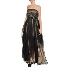 b7ca6643aa3 A.B.S. Women s Black Strapless Tiered Lace Beaded Evening Gown