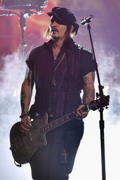 Johnny Depp of Hollywood Vampires performs on the 58th Annual GRAMMY Awards on Feb. 15 in Los Angeles