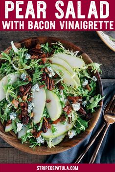This Pear Salad with frisee, pecans, blue cheese, and a warm maple bacon vinaigrette is a beautiful salad recipe for fall and winter. It's easy to make in 30 minutes (including the homemade dressing!) and makes a fantastic presentation for lunch or to sta Cooking Recipes, Healthy Recipes, Warm Salad Recipes, Recipe For Veggies, Bacon Recipes For Lunch, Salad Recipes For Dinner, Gourmet Recipes, Clean Eating, Healthy Eating