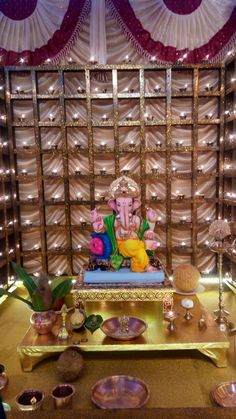 27 Best Trending Ganesh Chaturthi Decoration Ideas for home 2019 Source by ideas ideas for ganpati Wedding Stage Decorations, Wedding Ceremony Backdrop, Diwali Decorations, Festival Decorations, Light Decorations, Wedding Backdrops, House Decorations, Flower Decorations, Ganpati Decoration Design