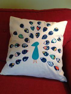 Pillow Cover:  Appliqued peacock, 18 x 18 via Etsy