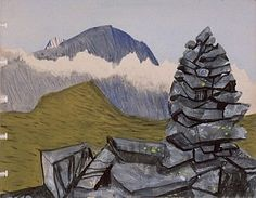 Steeple from Grey Knotts Cairn, 1942 by Peter Yates (British 1920 Sense Of Place, Painting Gallery, Artist Painting, Landscape Paintings, British, England, Mountains, Places, Travel