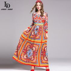 Elegant Women Maxi Dress Long Sleeve Printing Lace Patchwork Party Dresses Autumn WOW www.sukclothes.co... #shop #beauty #Woman's fashion #Products