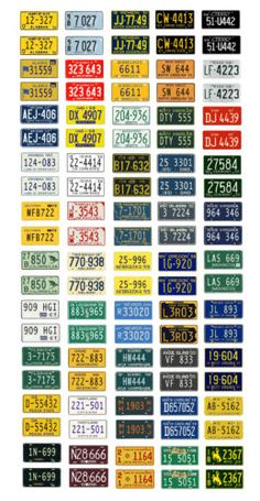 1-25-1-24-scale-model-car-assorted-1950s-USA-license-plates-state-tags