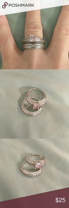18kt  pink Crystal engagement ring set Pink crystal and 18it white gold over stainless steal Jewelry Rings