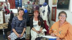 plotting and planning Talking Needles Project in Australia. Anne, Fiona and Bronwyn at Timeless Textiles, Newcastle, Australia