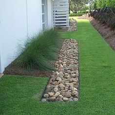 Could this be a solution for sie yard? French Drains are often refered to as. blind drain, rubble drain, rock drain, drain tile, perimeter drain or land drain.When installed correctly and . Backyard Drainage, Landscape Drainage, Backyard Landscaping, Landscaping Ideas, Drainage Solutions, Drainage Ideas, Outdoor Projects, Lawn And Garden, Garden Path