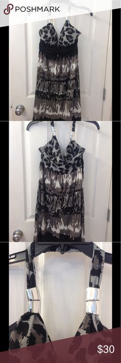 Gorgeous Cocktail/Sun Dress Lovely print, classic shades of black and gray, with silver tube accents on neck strap. Never worn. Dresses