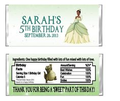 Personalized Princess & The Frog Birthday Party Favors Hershey Candy Bar Wrappers by DannisCuteCreations