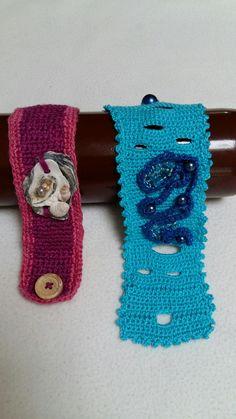 Armbanden gehaakt door Trijntje Bakker.