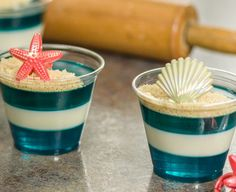 How cute are these! Gelatin and cookie beach cups.