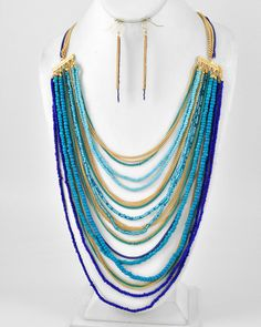 Gold Tone / Blue Acrylic Seed Bead & Color Coated / Lead Compliant / Metal Chain / Multi Row / Long Neck & Fish Hook Earring Set
