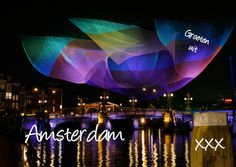 Design Holiday Greeting Cards / Vakantiekaarten Nederland Amsterdam by OTTI (sculpture amsterdam light festival) www.kaartje2go.nl