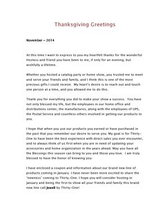 Today I'm working on a Thank You letter to all my hostesses for 2014.  I will go back through all my hostesses for 2014 and send this letter. It actually prints all on one page, but for picture pur...