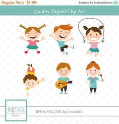 50% OFF SALE Kids clip art,children playingclipart, vector  graphics,childrenclipart, digital clip art, digital images