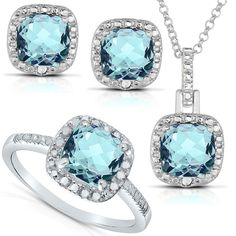 Including the necklace, earrings, and ring, this exquisite diamond jewelry set adds class to any ensemble. It's available in blue topaz or amethyst to match a variety of outfits, and the set features 13 round-cut diamonds for added sparkle.