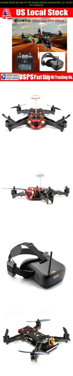 """Eachine Racer 250 5.8G FPV RTF Racing Drone Quadcopter+ 4.3"""" VR-007 FPV Goggles #plans #kit #250 #drone #fpv #camera #racing #products #technology #gadgets #shopping #parts #eachine #tech"""