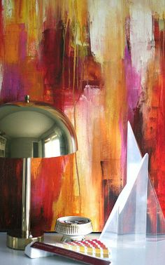 Love this painterly backdrop, especially the dark red and pink with the golden tones