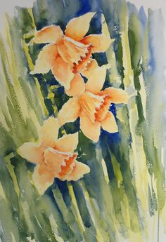 Loose Watercolour Floral Lesson: Daffodils by Joanne Thomas available at ArtTutor.com over the summer.