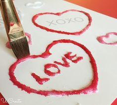 Kids Craft: Salt painting with free Valentine printable! Salt Painting, Love Painting, Painting For Kids, Art For Kids, Valentine Party, Valentines For Kids, Diy And Crafts, Crafts For Kids, Arts And Crafts