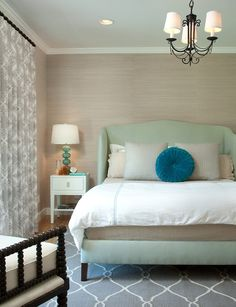 master bedroom with grasscloth wallpaper taupe | Tumblr