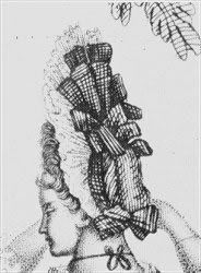 """Nicole Kipar's late 17th century Clothing History. """"Ribbon bows multiply among the lace flounces on the top of the head, ca. 1688."""""""
