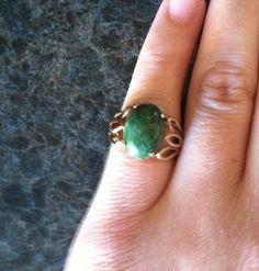 14K Gold and Jade Ring by #VeryVintageJewelsArt, $445. #Etsy #greenjade #gold #ring #jewelry #vintage #vintagejewelry #JadeRing