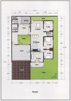 Denah Rumah 3 Kamar Ukuran 6x12 Terbaik Dan Terbaru Oke House