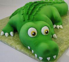 Groom's Cake: Alligator cake by CourtneysCakes Alligator Birthday Parties, Alligator Party, Boy Birthday, Birthday Cake, Alligator Cupcakes, Crocodile Cake, Crocodile Party, Fancy Cakes, Cute Cakes
