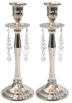 Set of 2 Small Crystal Glass Candlesticks 14cm Tall Round Candle Holders