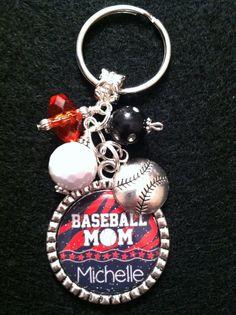Personalized BASEBALL MOM Key Chain Beaded by PreciousGirlsCrafts, $18.99