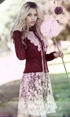 Women's Vintage Lace Holiday DressMatching Cardigan Available Too!Now in Stock