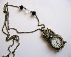 Colier bronz ceas pandantiv bufnita si cristale albe si negre Pocket Watch, Bracelet Watch, Watches, Bracelets, Accessories, Wristwatches, Clocks, Bracelet, Arm Bracelets