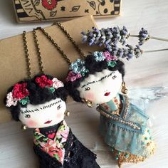 Frida Kahlo doll necklace & brooch~Image © Poudre Rose <3