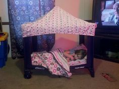 Todler bed made from old packand play ...easy for take along