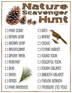 Nature Scavenger Hunt; Free Printable for kids