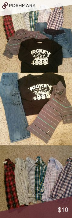 9 piece boy bundle 6 long sleeved button down shirts, 1 pullover, 1 sweatshirt and 1 pair of jeans (elastic waist and faux tie). Shirt on far right and jeans are size 5. All others 4/4T. Tags cut out of pullover short sleeved shirt. Various brands Shirts & Tops