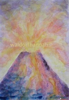 Waldorf ~ 6th grade ~ Geology & Mineralogy ~ Volcano ~ watercolor painting