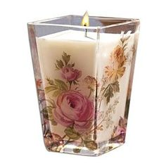 Pretty candles this is a pretty candle Candle Lanterns, Diy Candles, Scented Candles, Pillar Candles, Decorative Candles, Candle In The Wind, Rose Candle, Victorian Home Decor, Beautiful Candles