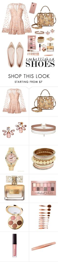 """""""Embellished:shoes"""" by pretty-posh-luxe ❤ liked on Polyvore featuring Zuhair Murad, Dolce&Gabbana, Marchesa, Miss Selfridge, Rolex, Givenchy, Maybelline, tarte, Laura Mercier and Tweezerman"""