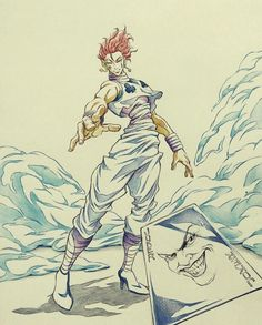 Takehiko Abiru, the animator who served as animation director on the Chimera Ant Arc's end credits, sketches Hisoka <3 (July 2014)